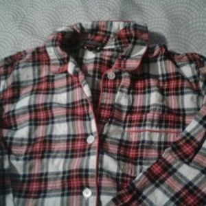 J. Crew Plaid Pajama Top M Red Piping